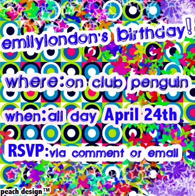 Come to the server Crunch at 12:00 pm penguin standard time to party with Emilylondon!